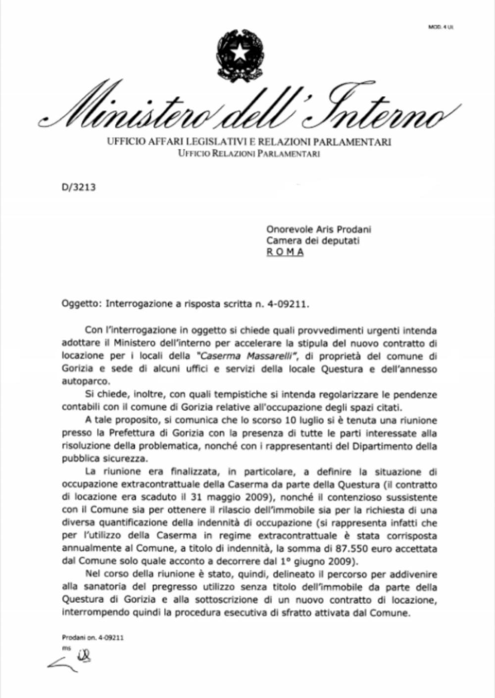 Caserma massarelli gorizia risposta del ministero dell for Ministero interno r